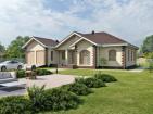 Проект одноэтажного дома с террасами и гаражом